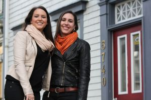 My sister and I in front of our beautiful Halifax apartment!