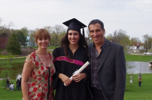 Celebrating my Mt.A graduation with my parentals!
