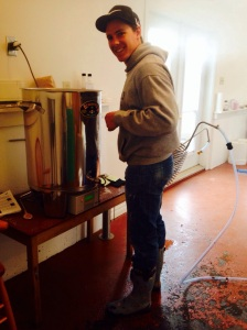 Matt brewing a test batch of pale ale. The boots suit him don't ya think?