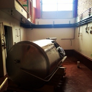 The first tank in the brewhouse! It works better when it is standing up..